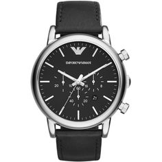 Emporio Armani Luigi Classic Chronograph Watch ($285) ❤ liked on Polyvore featuring men's fashion, men's jewelry, men's watches, mens chronograph watches, mens black face watches, mens leather strap watches, mens stainless steel watches and emporio armani mens watches