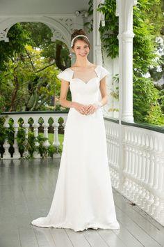 Simple A-line Cap Sleeves Floor Length Satin Wedding Dress