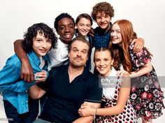 Actors Finn Wolfhard, Caleb McLaughlin, Noah Schnapp, Gaten Matarazzo, Sadie Sink, (front row L-R) David Harbour and Millie Bobby Brown from Netflix's 'Stranger Things' pose for a portrait during Comic-Con 2017 at Hard Rock Hotel San Diego on July 22, 2017 in San Diego, California.