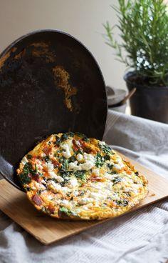 chorizo spinach feta frittata.