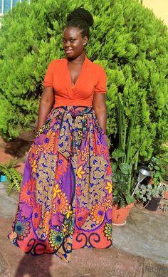 NEW Pink Ankara Maxi High Waist Skirt ; African Clothing; African fashion; African Print; African Skirt; African Clothing;