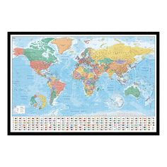 World Pinboard Map With Light Wood Frame World Framed Maps - World pinboard map wood framed