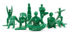 Keep calm with a set of green army men who practice yoga. | 29 Things For Anyone Who's Feeling Stressed