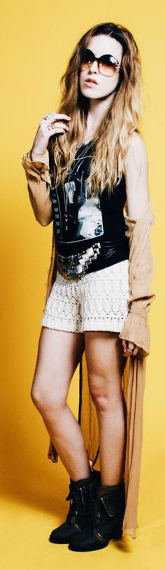 Just the White Women's Vintage Loose Crochet Lace Shorts; dislike the rest of the outfit.