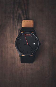 MVMT × Leather Strap minimalistic watch in black