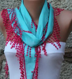 Blue Scarf Cotton Scarf Headband Necklace Cowl with  by fatwoman, $13.50