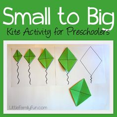 Kite Activity for Preschoolers. Help children sort kites smallest to biggest. Great for spring and summer. Age 4 Identify big Distinguish big and little. Preschool Lessons, Preschool Learning, Toddler Learning, Preschool Crafts, April Preschool, Preschool Prep, Spring Activities, Learning Activities, Preschool Activities