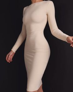 AYM Studio clothing collection presents this long sleeved bodycon midi dress. Made using our signature double layered fabric to create a flattering. Source by dress outfit Tight Dresses, Sexy Dresses, Cute Dresses, Fashion Dresses, Midi Dresses, Elegant Dresses, Dress Skirt, Slep Dress, Mode Outfits