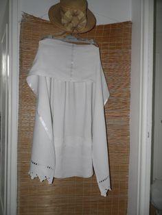 Etole blanche en lin réalisée avec des draps très anciens   Echarpe,  foulard, cravate da4d8c62d94