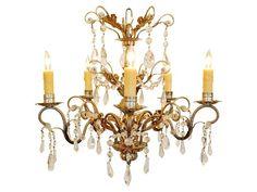 An Italian Silvered Brass 6-Light Chandelier   #robuck