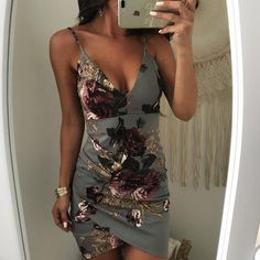 Irregular Floral Print Backless Bodycon Slip Dress Two pieces Outfit accessories Jumpsuit romper Fashion outfits Trendy dresses Rompers women Halter crop top White tops Hoco Dresses, Sexy Dresses, Cute Dresses, Fashion Dresses, Trendy Dresses, Fashion Clothes, Dress Skirt, Bodycon Dress, Dress Shoes