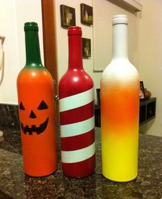 Holiday Wine Bottles for table decorations