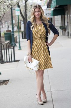 tasteful blue and gold outfit!