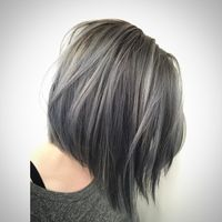 "Maria on Instagram: ""Light blue denim silver on this fox @michaelabosch ~haircut and color by me #shag #shagboston #silverhair #bluehair #pastelhair #bob #lob…"""