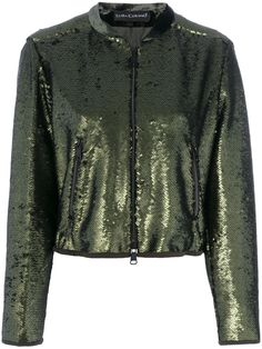 ¡Cómpralo ya!. Luisa Cerano - Sequinned Bomber Jacket - Women - Polyester - 36. Forest green bomber jacket from Luisa Cerano featuring a round neck, long sleeves, a front zip fastening, front zipped pockets, a short length, sequinned design throughout and ruched style back hem. This item is true to fit. Size: 36. Gender: Female. Material: Polyester. , chaquetabomber, bómber, bombers, bomberjacke, chamarrabomber, vestebomber, giubbottobombber, bomber. Chaqueta bomber  de mujer color verde…