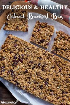 Whether it's for breakfast or for a snack, rise and shine with tasty Rise and Shine Oatmeal Breakfast Bars. These delicious and healthy bars are a fun, easy on-the-go treat packed with walnuts, coconut and cranberries. Save time in the morning and make these bars the night before! With Reynolds Parchment Paper, your breakfast bars bake evenly without breaking!