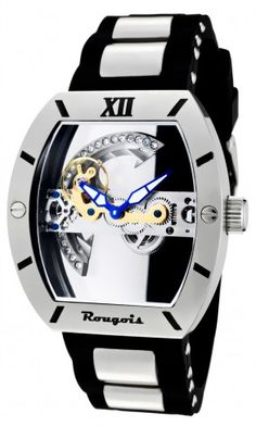 Rougois sk2298m Silver Bridge Automatic Skeleton Watch For Men