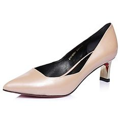Women's Shoes Pointed Toe Chunky Heel Leather Pumps Shoes More Colors available
