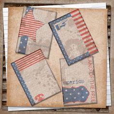 U printables by RebeccaB: Patriotic Smash Journal Cards Freebie