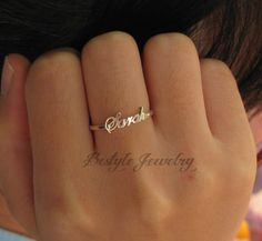 Name Ring - Silver Jewelry - Personalized Gifts - Fashion Ring - Sterling Silver Cute Jewelry, Silver Jewelry, Jewelry Accessories, Etsy Jewelry, Silver Bracelets, Name Rings Silver, Fashion Rings, Fashion Jewelry, Bijoux Design