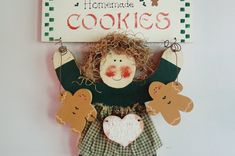 Holiday Painted Wood Wall Decor, Primitive Girl Homemade Cookies Gingerbread Cookies Door Hanger, Rustic Farmhouse Modern Country Kitchen