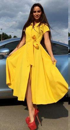 Short Sleeve Front Buttons Dress