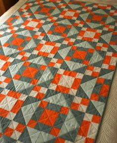 Patchwork Jacob's Ladder quilt aqua and orange by StephsQuilts