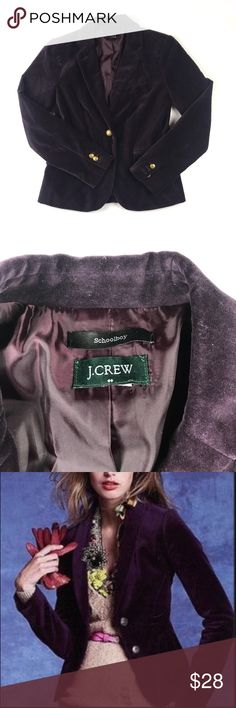JCREW factory velvet plum schoolboy blazer JCREW factory velvet plum schoolboy blazer with gold button features J. Crew Factory Jackets & Coats Blazers