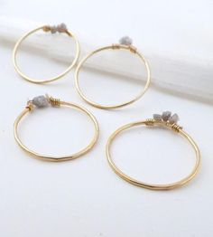 Raw Diamond Gold Stacking Rings - Set of 4 | My Wish List