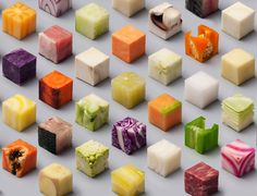 Amsterdam-based artists, Lernert & Sander have gone viral for their work, Cubes, which shows food perfectly-cut into 98 cubes.