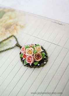 pendant necklace handmade flowers necklace antique by Joyloveclay #jewelry…
