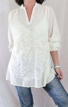 Soft Surroundings Cotton Mandarin Collar Button Embroidered Tunic Ivory Sz L…