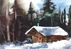 How to paint a snowy log cabin in watercolour with Alison Fennell