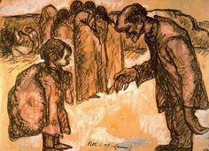 Isidre Nonell Monturiol. Gitanos. 1909. Sanguina y gouache. 32,5 x 45 cms. Gabinete de Dibujos y Grabados del MNAC, Barcelona