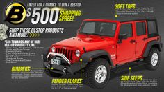 Morris 4x4 is pleased to announce the launch of our $500 Bestop Shopping Spree Sweepstakes on Facebook! Submissions are being accepted now through March16, 2013 so enter today for your chance to win!    https://www.facebook.com/Morris4x4Center/app_364041783617057?ref=ts