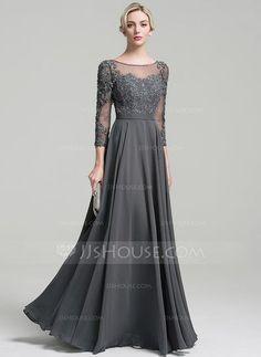 [€ 157.40] A-Linie/Princess-Linie U-Ausschnitt Bodenlang Chiffon Abendkleid mit Perlstickerei Pailletten (017096348)