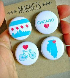 Chicago Magnet Set | Display all that Chicago love in your heart with this 4 piece ... | Refrigerator Magnets