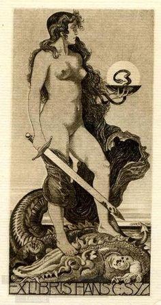Serpent Women victorious over the Reptilian Clan - sAlfred Soder  ex libris, 1916