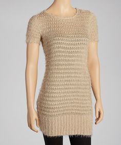 Another great find on #zulily! Taupe Knit Ribbed-Trim Tunic Sweater #zulilyfinds