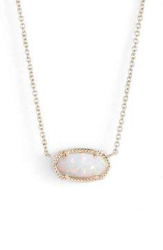 Kendra Scott 'Elisa' Pendant Necklace White Kyocera Opal/Gold :)-JL