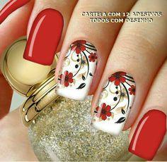 Top 50 Red and white nail design for beautiful girls - White Nail Designs, Diy Nail Designs, Beautiful Nail Designs, Red And White Nails, Red Nails, Hair And Nails, Stamping Nail Art, Flower Nail Art, Spring Nail Art