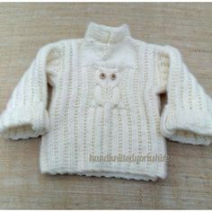 Hand Knitted 1 year baby Sweater in White wool rich yarn Cable Owl design turnback cuffs and chunky feel Great Gift Ready Now UK Seller by HandKnittedYorkshire on Etsy