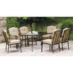 Walmart - need 2 for top deck patio - $298 -Mainstays Brookwood Landing 7-Piece Patio Dining Set, Tan, Seats 6