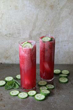 Blackberry Mint Cucumber Tequila Coolers // Heather Christo