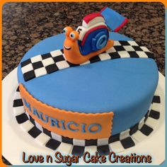 Turbo inspired birthday cake! Hand crafted Turbo and road made with fondant!