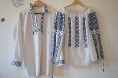 Ie pentru ea si pentru el....broderie albastra.superbe.perfecte pentru un eveniment traditional romanesc! I love Romania and our traditional blouse.couple look