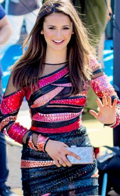 Nina Dobrev arriving at the Teen Choice Awards 2015