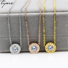 titanium steel Rose gold necklace Mosaic gold necklace collarbone chain The girl brief paragraph circular single drill  jewelry