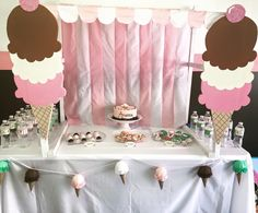 Ice cream birthday decorations Barbie Birthday Party, 2nd Birthday, Birthday Parties, Birthday Ideas, Ice Cream Theme, Ice Cream Party, Ice Cream Decorations, Birthday Decorations, Pea Ideas