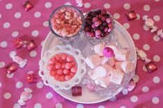 Jelly beans, m, gumballs, marshmallows, pink wrapped chocolate